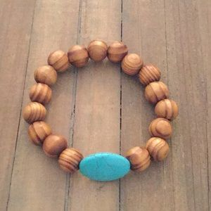 Natural wood and stone stretch bracelet